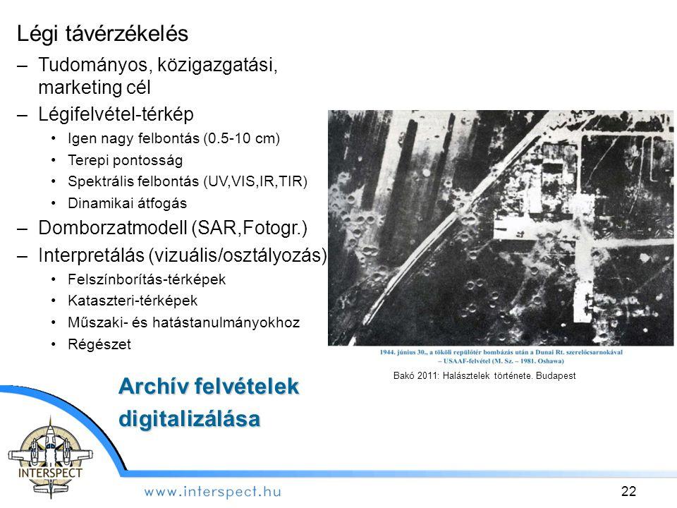 Bakó 2011: Halásztelek története. Budapest Légi távérzékelés –Tudományos, közigazgatási, marketing cél –Légifelvétel-térkép Igen nagy felbontás (0.5-1