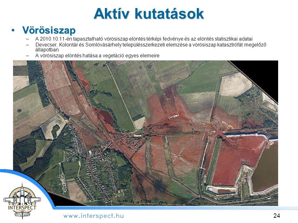 Aktív kutatások 24 VörösiszapVörösiszap –A 2010.10.11-én tapasztalható vörösiszap elöntés térképi fedvénye és az elöntés statisztikai adatai –Devecser