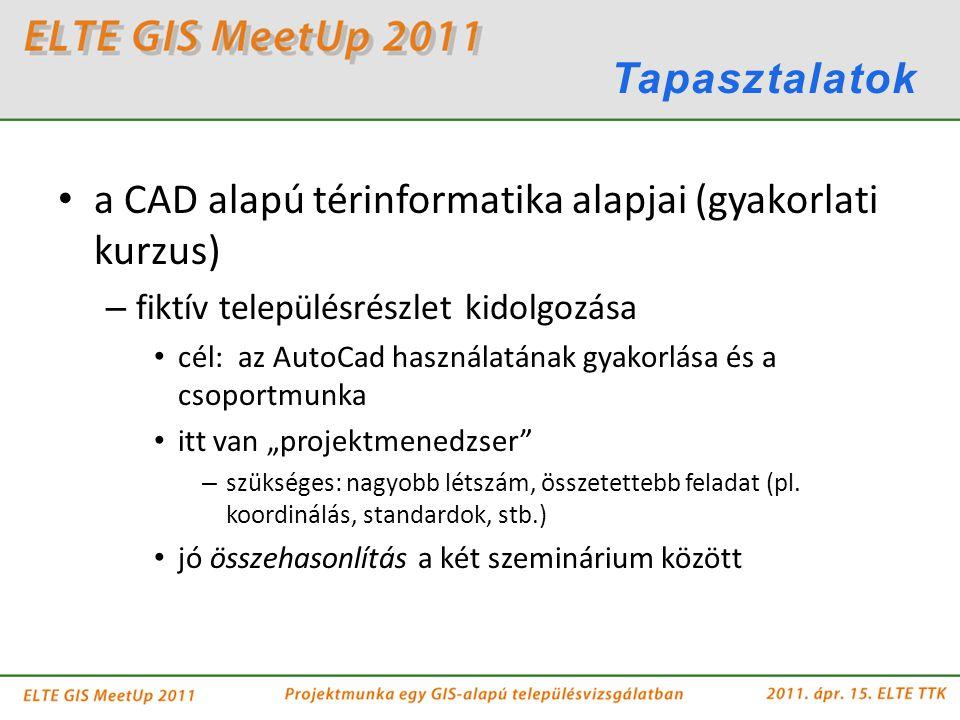 a CAD alapú térinformatika alapjai (gyakorlati kurzus) – fiktív településrészlet kidolgozása cél: az AutoCad használatának gyakorlása és a csoportmunk