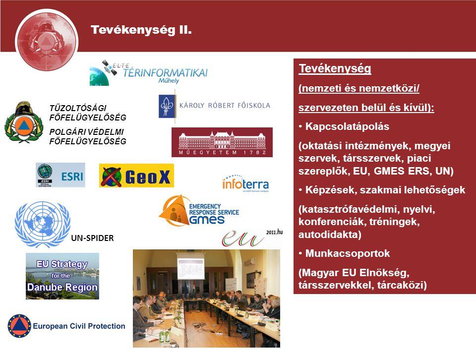 Tevékenység (nemzeti és nemzetközi/ szervezeten belül és kívül): Kapcsolatápolás (oktatási intézmények, megyei szervek, társszervek, piaci szereplők, EU, GMES ERS, UN) Képzések, szakmai lehetőségek (katasztrófavédelmi, nyelvi, konferenciák, tréningek, autodidakta) Munkacsoportok (Magyar EU Elnökség, társszervekkel, tárcaközi) UN-SPIDER TŰZOLTÓSÁGI FŐFELÜGYELŐSÉG POLGÁRI VÉDELMI FŐFELÜGYELŐSÉG