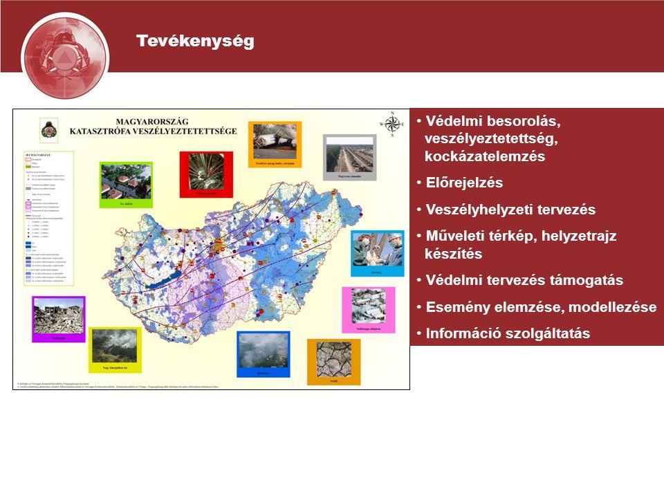Tevékenység Védelmi besorolás, veszélyeztetettség, kockázatelemzés Előrejelzés Veszélyhelyzeti tervezés Műveleti térkép, helyzetrajz készítés Védelmi tervezés támogatás Esemény elemzése, modellezése Információ szolgáltatás