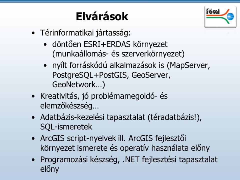 Elvárások Térinformatikai jártasság: döntően ESRI+ERDAS környezet (munkaállomás- és szerverkörnyezet) nyílt forráskódú alkalmazások is (MapServer, Pos