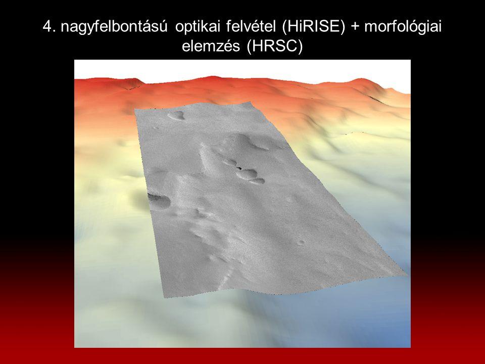 4. nagyfelbontású optikai felvétel (HiRISE) + morfológiai elemzés (HRSC)