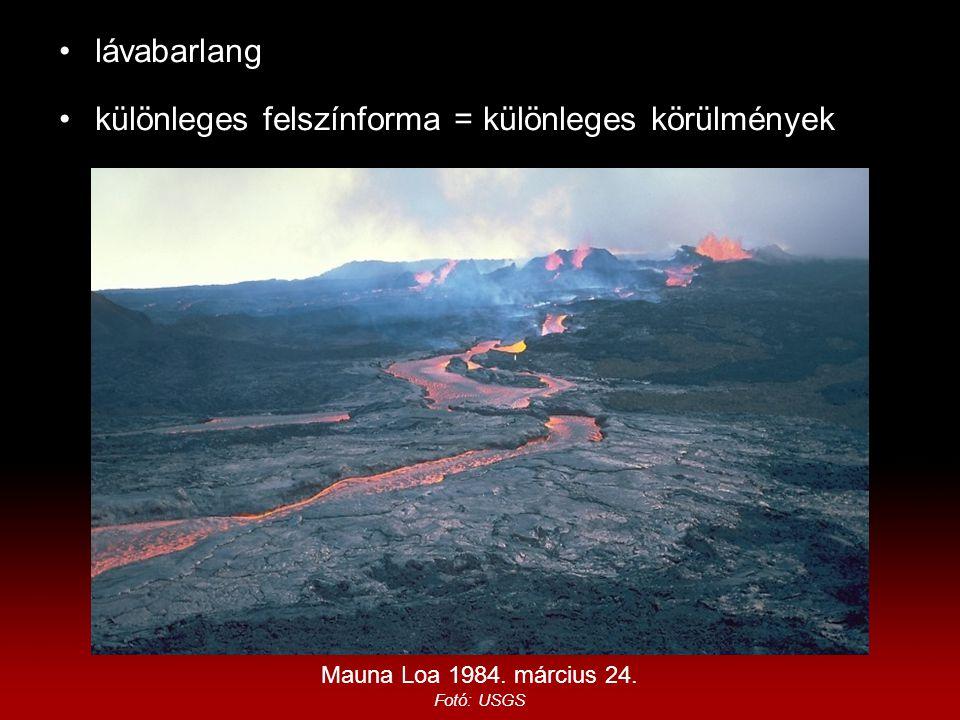 lávabarlang különleges felszínforma = különleges körülmények Mauna Loa 1984. március 24. Fotó: USGS