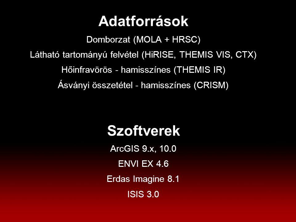Adatforrások Domborzat (MOLA + HRSC) Látható tartományú felvétel (HiRISE, THEMIS VIS, CTX) Hőinfravörös - hamisszínes (THEMIS IR) Ásványi összetétel - hamisszínes (CRISM) Szoftverek ArcGIS 9.x, 10.0 ENVI EX 4.6 Erdas Imagine 8.1 ISIS 3.0