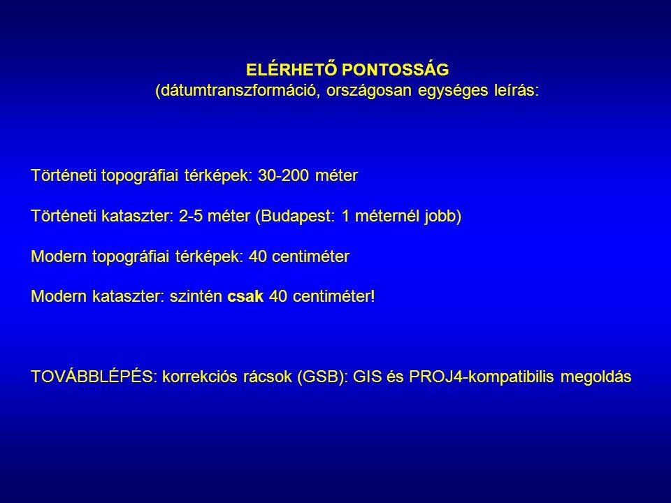 ELÉRHETŐ PONTOSSÁG (dátumtranszformáció, országosan egységes leírás: Történeti topográfiai térképek: 30-200 méter Történeti kataszter: 2-5 méter (Buda