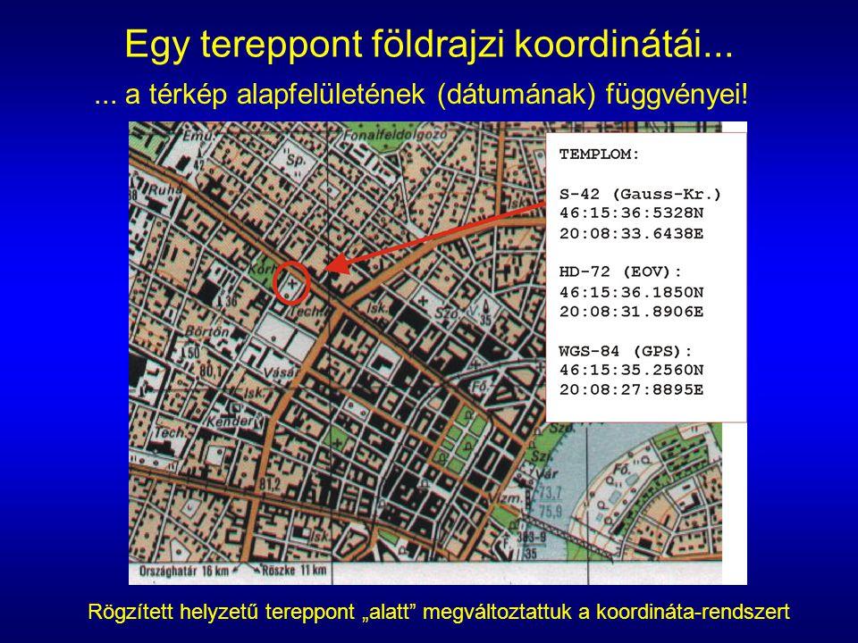 """Egy tereppont földrajzi koordinátái...... a térkép alapfelületének (dátumának) függvényei! Rögzített helyzetű tereppont """"alatt"""" megváltoztattuk a koor"""