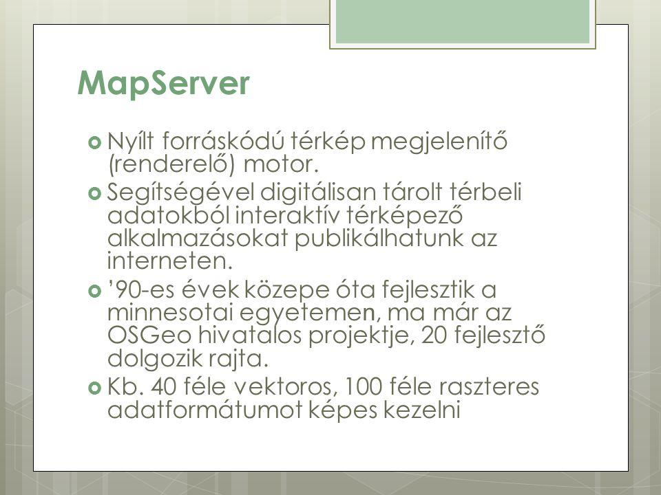 MapServer  Nyílt forráskódú térkép megjelenítő (renderelő) motor.