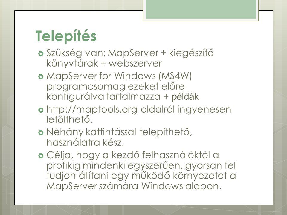 Telepítés  Szükség van: MapServer + kiegészítő könyvtárak + webszerver  MapServer for Windows (MS4W) programcsomag ezeket előre konfigurálva tartalmazza + példák  http://maptools.org oldalról ingyenesen letölthető.
