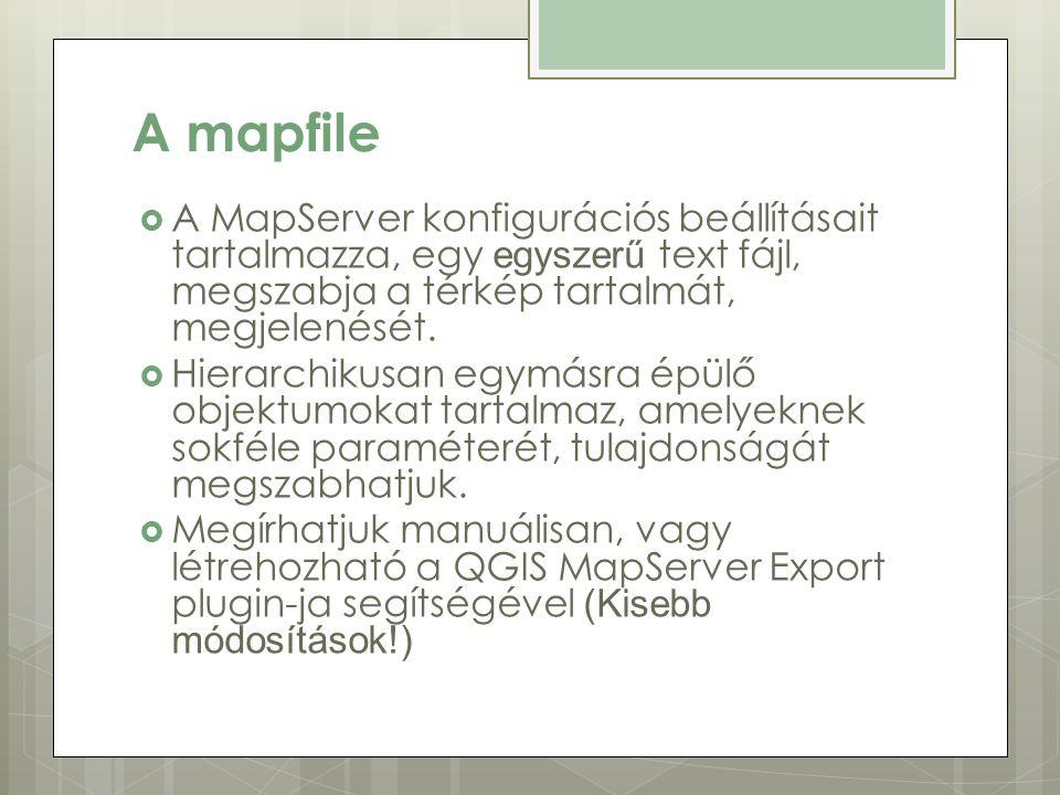 A mapfile  A MapServer konfigurációs beállításait tartalmazza, egy egyszerű text fájl, megszabja a térkép tartalmát, megjelenését.
