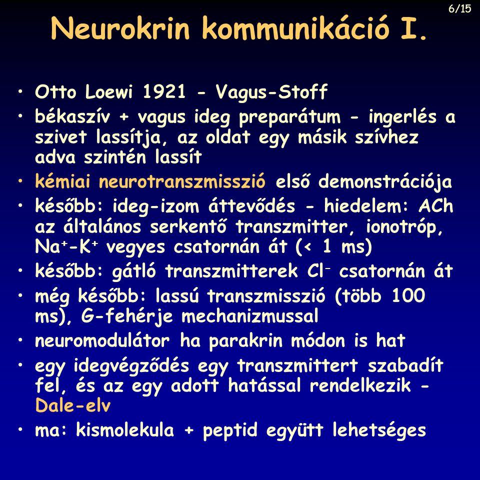 Neurokrin kommunikáció I. Otto Loewi 1921 - Vagus-Stoff békaszív + vagus ideg preparátum - ingerlés a szivet lassítja, az oldat egy másik szívhez adva