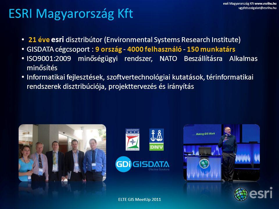 21 éve esri disztribútor (Environmental Systems Research Institute) GISDATA cégcsoport : 9 ország - 4000 felhasználó - 150 munkatárs ISO9001:2009 minő