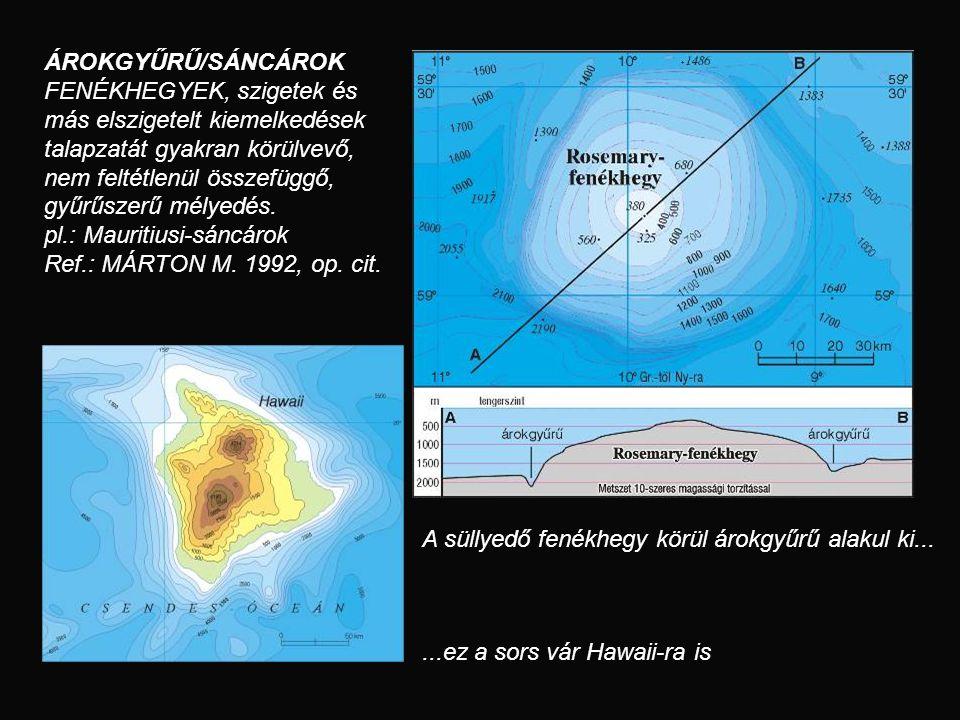 ÁROKGYŰRŰ/SÁNCÁROK FENÉKHEGYEK, szigetek és más elszigetelt kiemelkedések talapzatát gyakran körülvevő, nem feltétlenül összefüggő, gyűrűszerű mélyedé