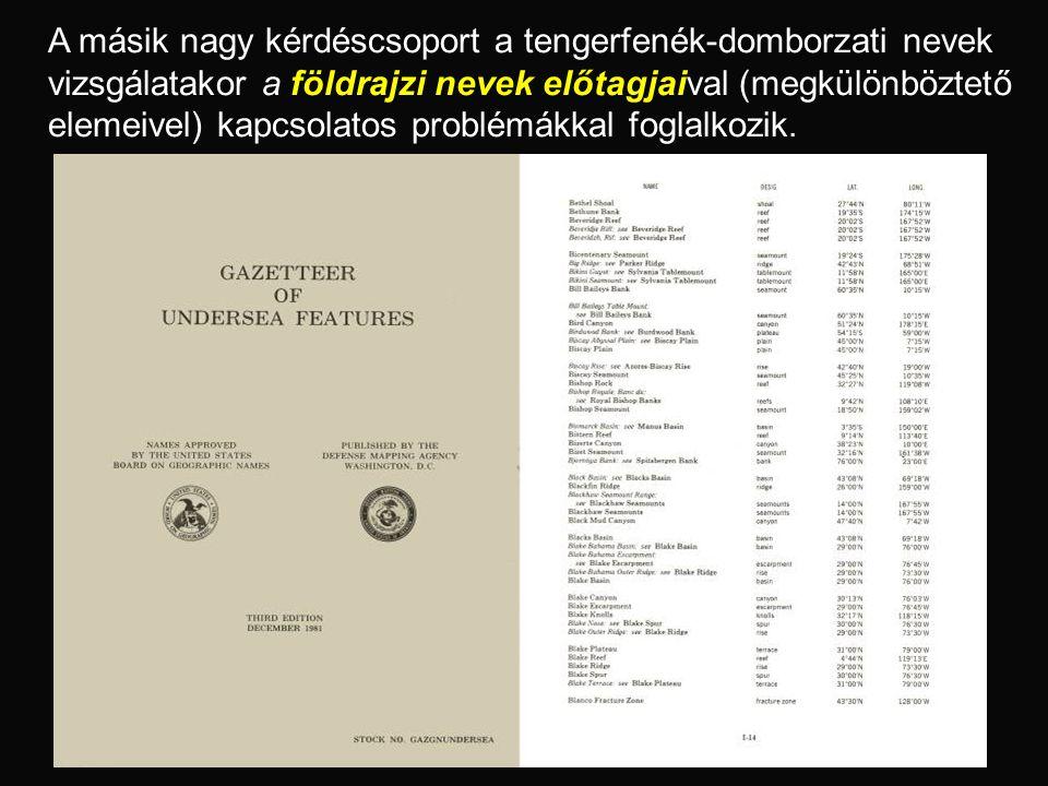 A másik nagy kérdéscsoport a tengerfenék-domborzati nevek vizsgálatakor a földrajzi nevek előtagjaival (megkülönböztető elemeivel) kapcsolatos problém