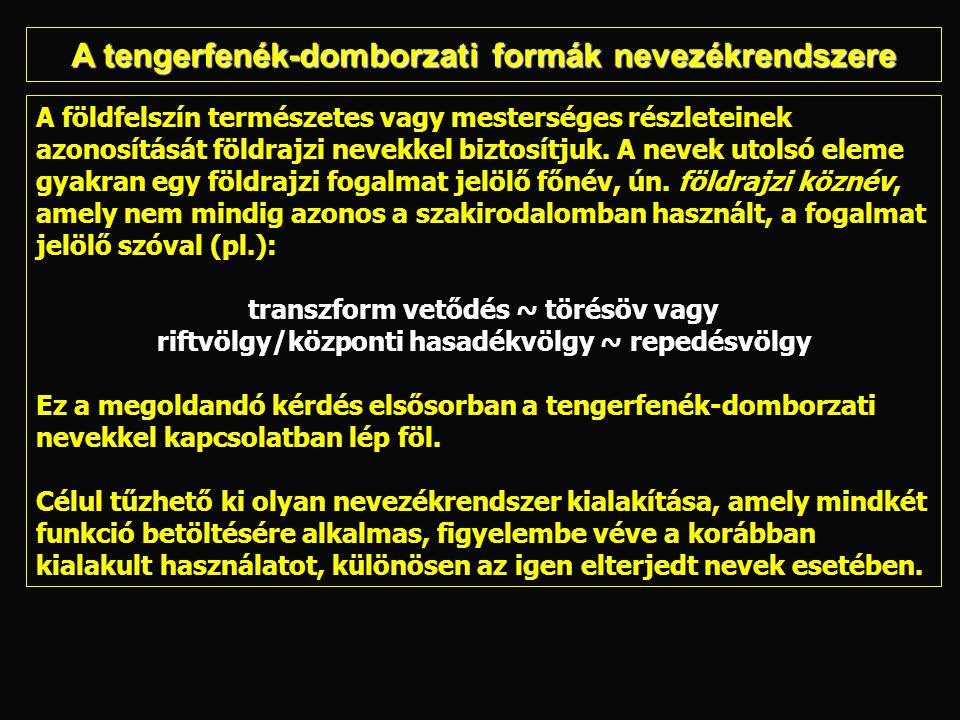 magyar: 1 — Japán-árok, 2 — Izu-árok, 3 — Bonin-árok, 4 — Volcano-árok, 5 — Mariana-árok (Nagy világatlasz, Kartográfiai Vállalat, Bp., 1985) német (I): 6 — Japangraben, 7 — Boningraben, 8 — Marianengraben (Atlas der Erdkunde, VEB Hermann Haack,Geographisch- Kartographische Anstalt, Gotha/Leipzig, 1982) német (II): 9 — Japangraben, 10 — Boningraben, 11 — Volcangraben, 12 — Marianengraben (Haack geographischer Atlas, Kiadó: mint elõbb, 1982) és (Haack Weltatlas, Kiadó: mint elõbb, 1980) angol:13 — Japan Trench,14 — Izu Trench, 15 — Bonin Trench 16 — Mariana Trench (National Geographic Atlas of the World, National Geographic Society, Washington, D.C., 1981) cseh:17 — Japonský příkop, 18 — Marianský příkop (Atlas Světa, Kartografie, Praha, 1983) A Japán-ároktól a Mariana-árokig: Azonos objektumok lehatárolása és elnevezése különböző térképeken