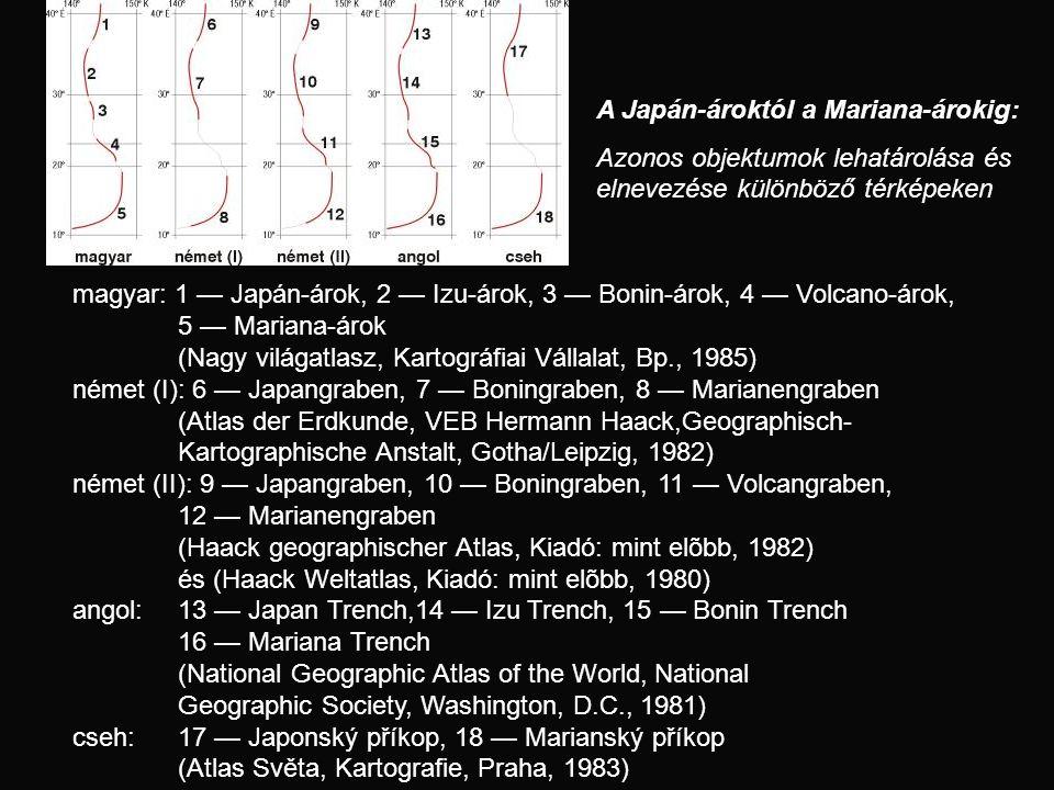 magyar: 1 — Japán-árok, 2 — Izu-árok, 3 — Bonin-árok, 4 — Volcano-árok, 5 — Mariana-árok (Nagy világatlasz, Kartográfiai Vállalat, Bp., 1985) német (I