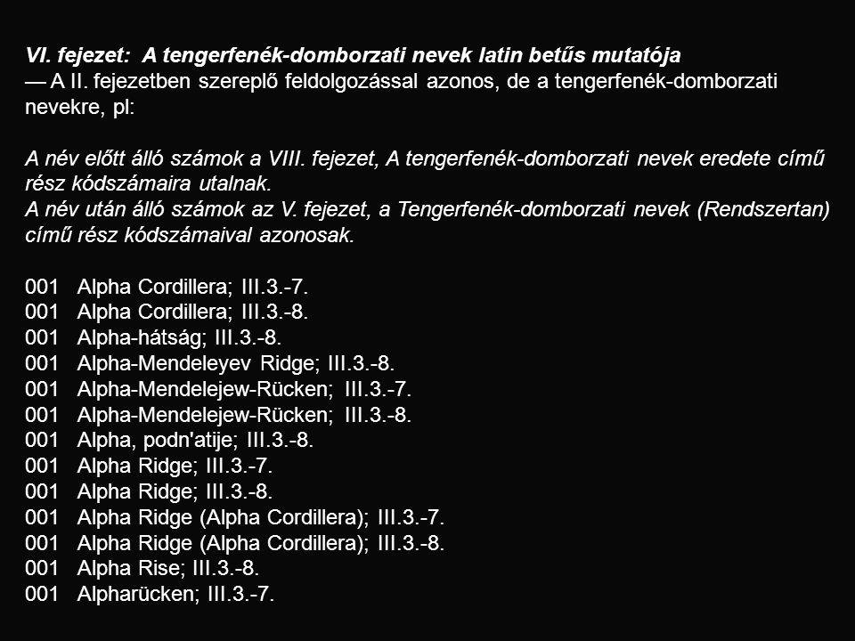 VI. fejezet: A tengerfenék-domborzati nevek latin betűs mutatója — A II. fejezetben szereplő feldolgozással azonos, de a tengerfenék-domborzati nevekr