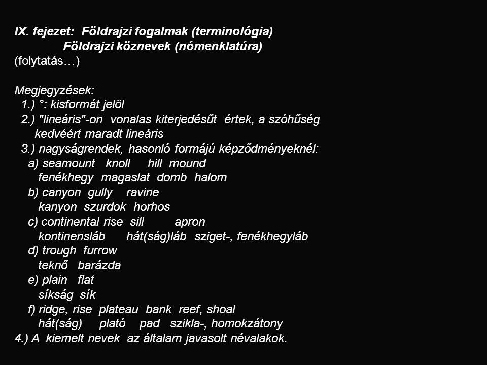 IX. fejezet: Földrajzi fogalmak (terminológia) Földrajzi köznevek (nómenklatúra) (folytatás…) Megjegyzések: 1.) °: kisformát jelöl 2.)