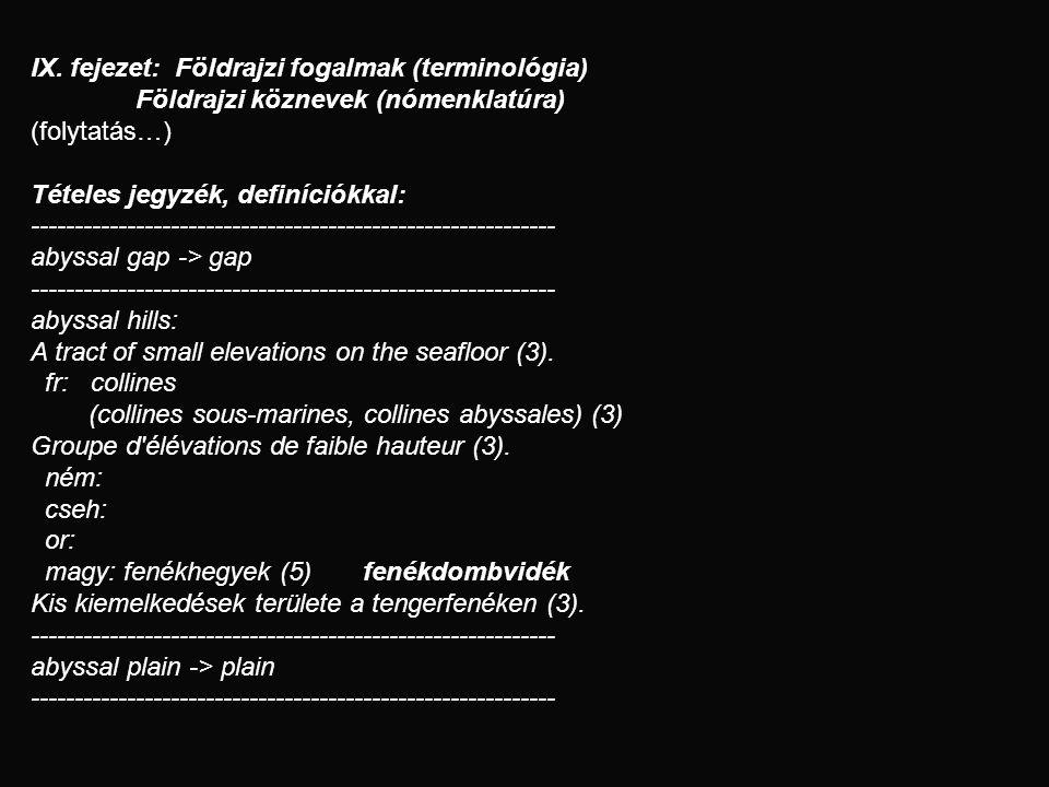 IX. fejezet: Földrajzi fogalmak (terminológia) Földrajzi köznevek (nómenklatúra) (folytatás…) Tételes jegyzék, definíciókkal: ------------------------