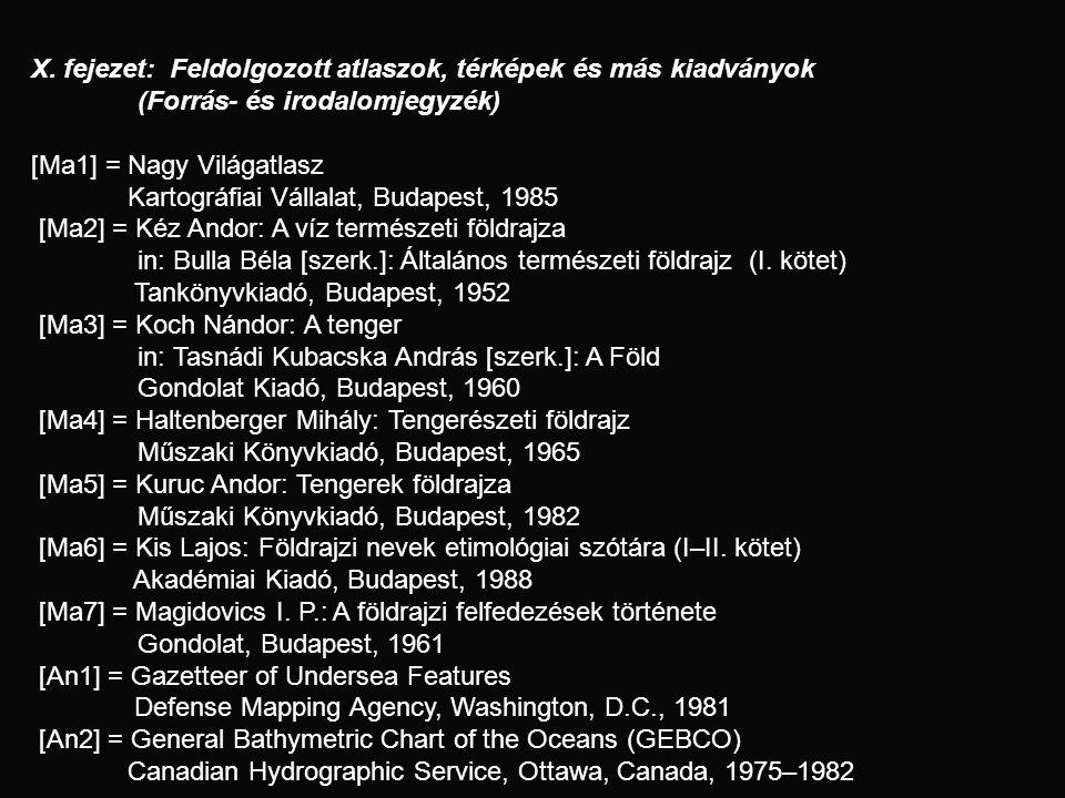X. fejezet: Feldolgozott atlaszok, térképek és más kiadványok (Forrás- és irodalomjegyzék) [Ma1] = Nagy Világatlasz Kartográfiai Vállalat, Budapest, 1