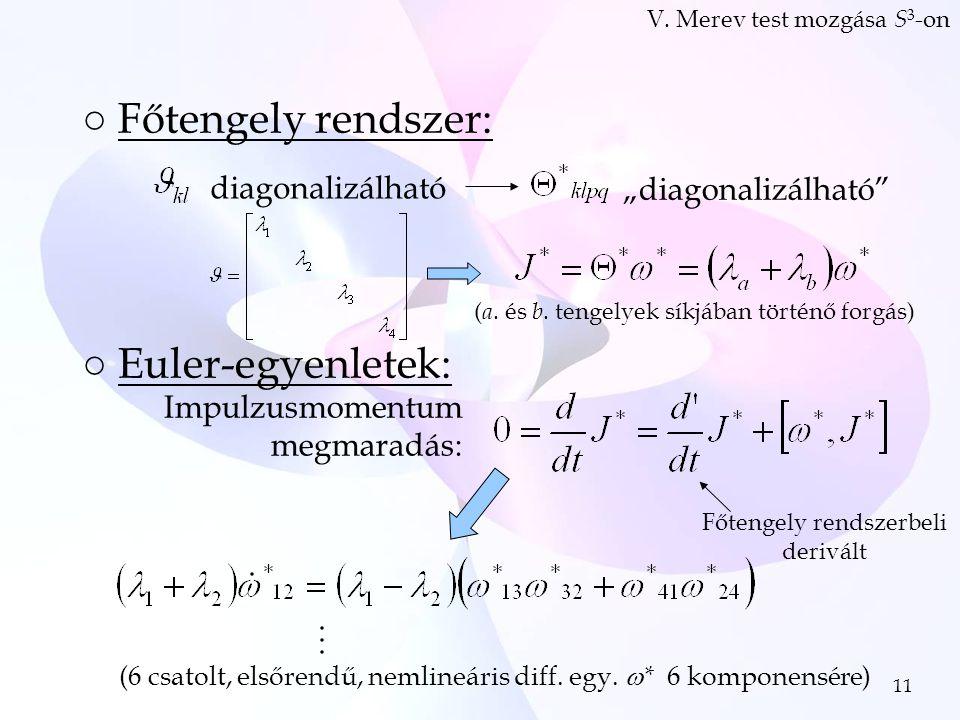 11 ○Főtengely rendszer: ○Euler-egyenletek: V.