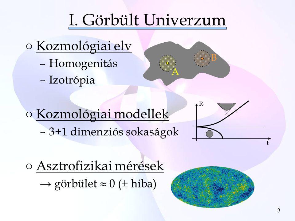 3 I. Görbült Univerzum ○Kozmológiai elv –Homogenitás –Izotrópia ○Kozmológiai modellek –3+1 dimenziós sokaságok ○Asztrofizikai mérések → görbület  0 (