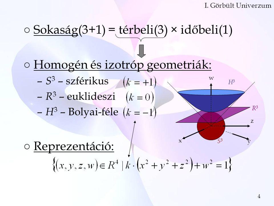 4 ○Sokaság(3+1) = térbeli(3) × időbeli(1) ○Homogén és izotróp geometriák: – S 3 – szférikus – R 3 – euklideszi – H 3 – Bolyai-féle ○Reprezentáció: I.