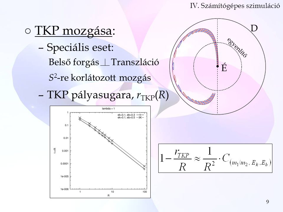 9 ○TKP mozgása: –Speciális eset: –TKP pályasugara, r TKP ( R ) IV.