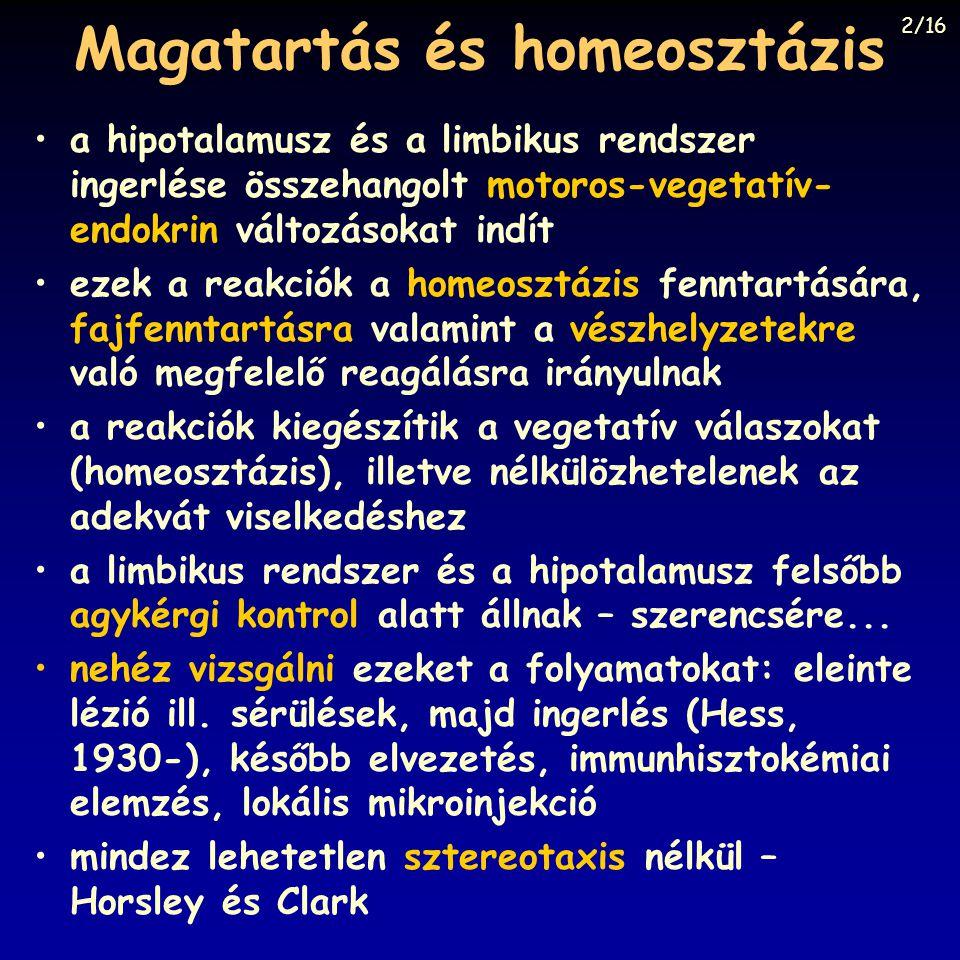 Magatartás és homeosztázis a hipotalamusz és a limbikus rendszer ingerlése összehangolt motoros-vegetatív- endokrin változásokat indít ezek a reakciók a homeosztázis fenntartására, fajfenntartásra valamint a vészhelyzetekre való megfelelő reagálásra irányulnak a reakciók kiegészítik a vegetatív válaszokat (homeosztázis), illetve nélkülözhetelenek az adekvát viselkedéshez a limbikus rendszer és a hipotalamusz felsőbb agykérgi kontrol alatt állnak – szerencsére...