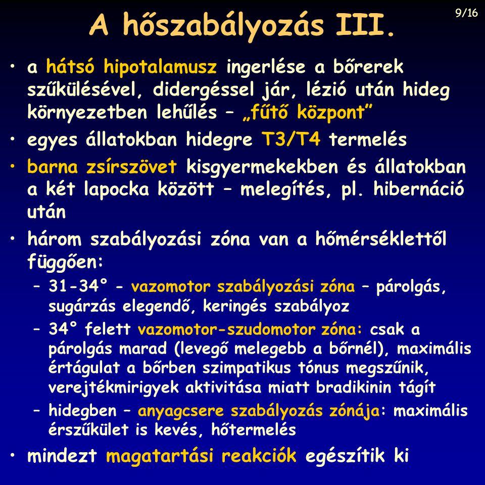 A hőszabályozás III.