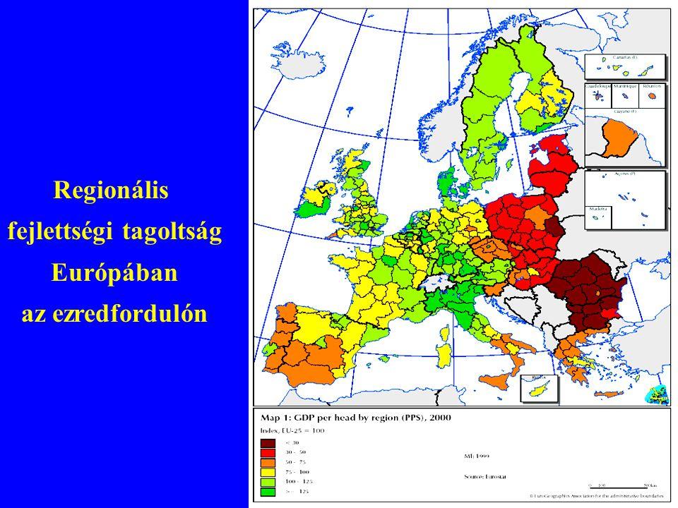 Regionális fejlettségi tagoltság Európában az ezredfordulón
