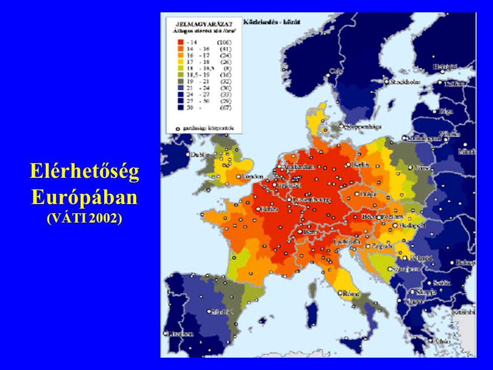 Elérhetőség Európában (VÁTI 2002)