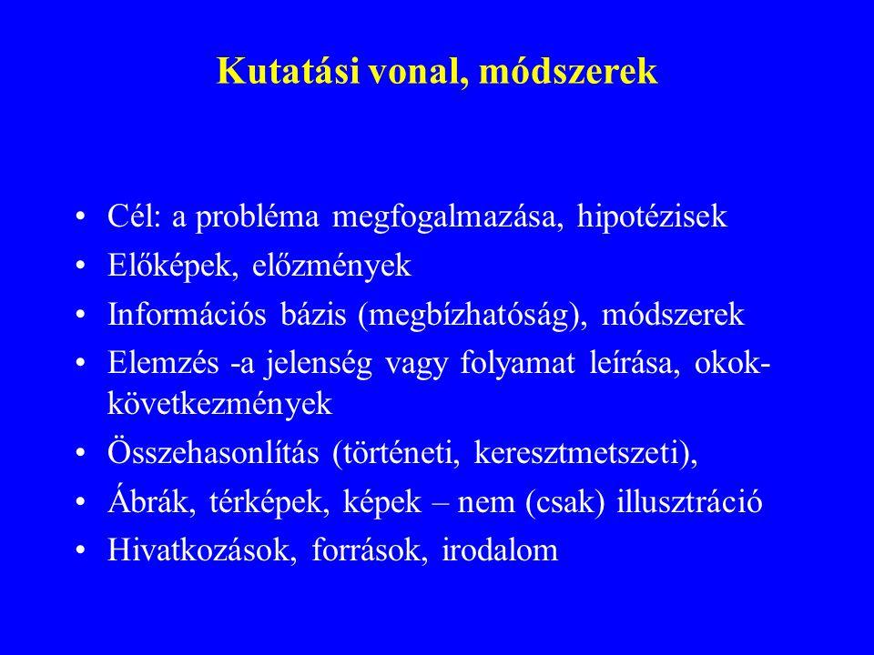Kutatási vonal, módszerek Cél: a probléma megfogalmazása, hipotézisek Előképek, előzmények Információs bázis (megbízhatóság), módszerek Elemzés -a jel