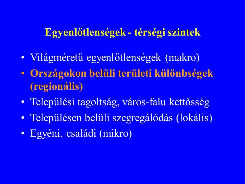 Világméretű egyenlőtlenségek (makro) Országokon belüli területi különbségek (regionális) Települési tagoltság, város-falu kettősség Településen belüli szegregálódás (lokális) Egyéni, családi (mikro) Egyenlőtlenségek - térségi szintek