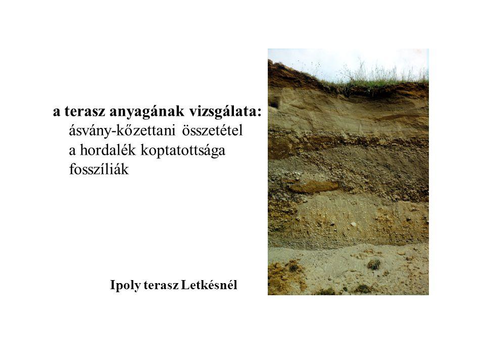 Ipoly terasz Letkésnél a terasz anyagának vizsgálata: ásvány-kőzettani összetétel a hordalék koptatottsága fosszíliák