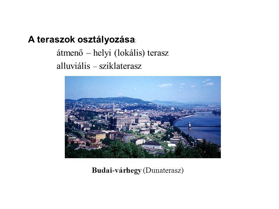 A teraszok osztályozása : átmenő – helyi (lokális) terasz alluviális – sziklaterasz Budai-várhegy (Dunaterasz)