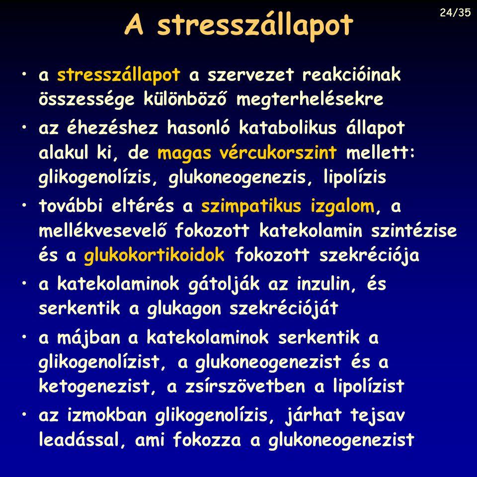 A stresszállapot a stresszállapot a szervezet reakcióinak összessége különböző megterhelésekre az éhezéshez hasonló katabolikus állapot alakul ki, de