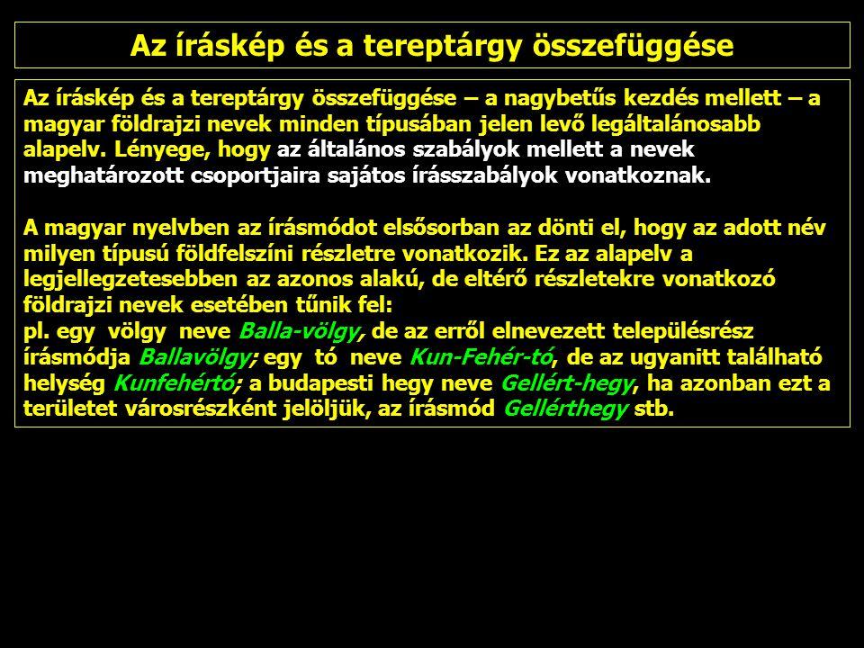 Az íráskép és a tereptárgy összefüggése – a nagybetűs kezdés mellett – a magyar földrajzi nevek minden típusában jelen levő legáltalánosabb alapelv. L