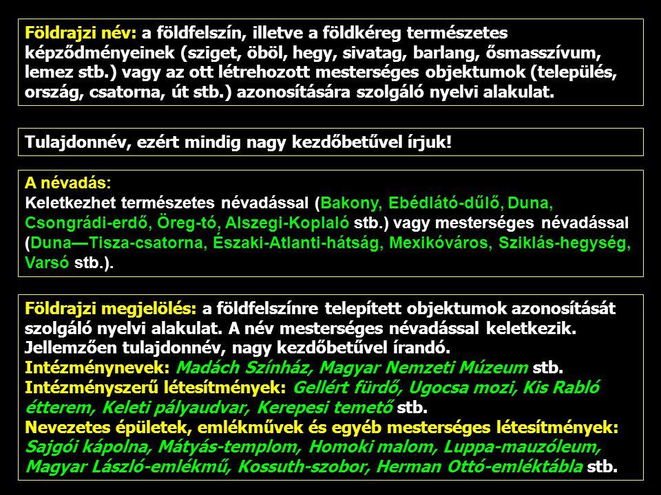 A névadás: Keletkezhet természetes névadással (Bakony, Ebédlátó-dűlő, Duna, Csongrádi-erdő, Öreg-tó, Alszegi-Koplaló stb.) vagy mesterséges névadással