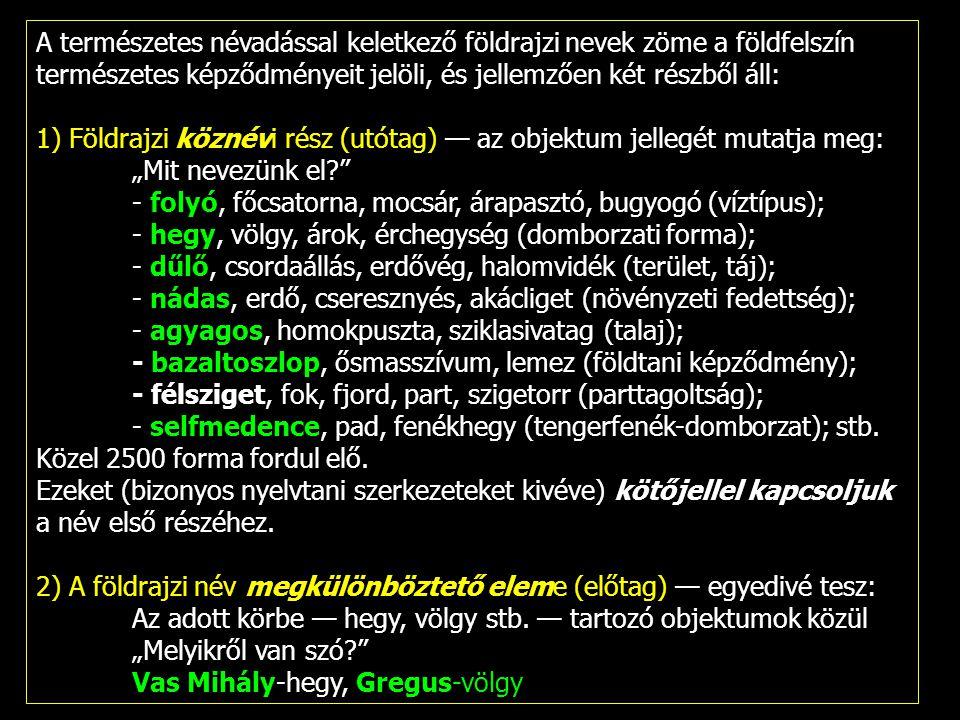 A természetes névadással keletkező földrajzi nevek zöme a földfelszín természetes képződményeit jelöli, és jellemzően két részből áll: 1) Földrajzi kö