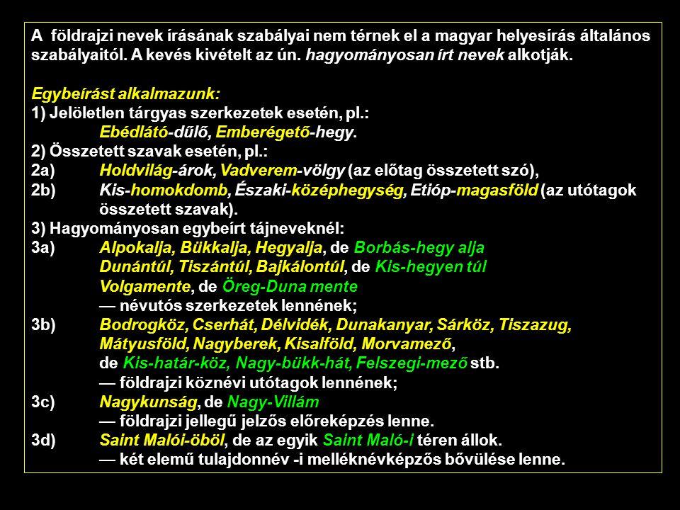 A földrajzi nevek írásának szabályai nem térnek el a magyar helyesírás általános szabályaitól. A kevés kivételt az ún. hagyományosan írt nevek alkotjá