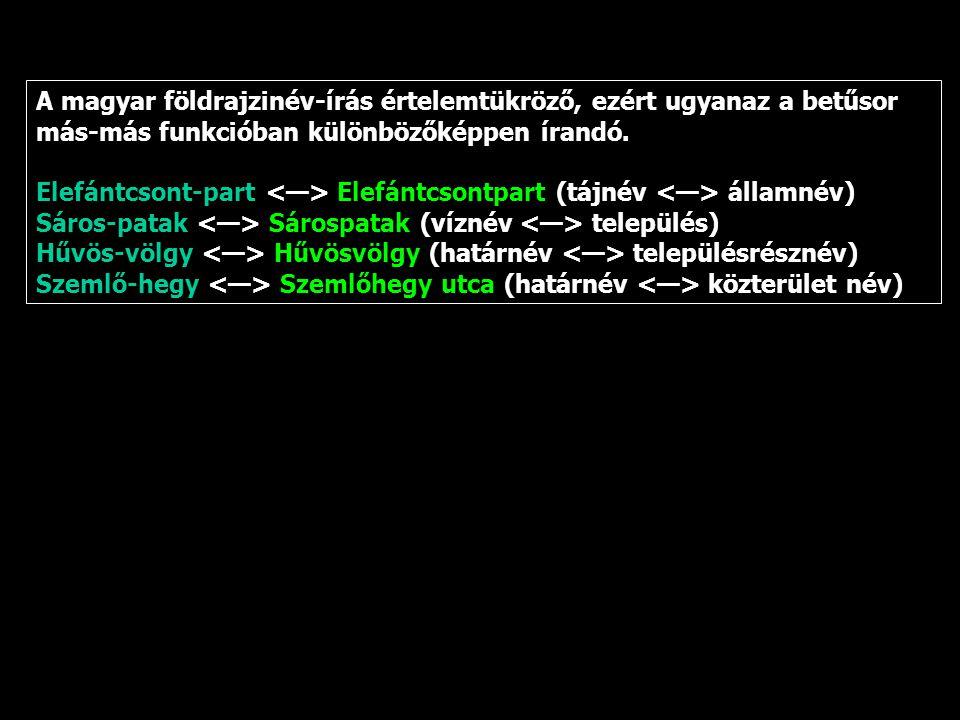 A magyar földrajzinév-írás értelemtükröző, ezért ugyanaz a betűsor más-más funkcióban különbözőképpen írandó. Elefántcsont-part Elefántcsontpart (tájn