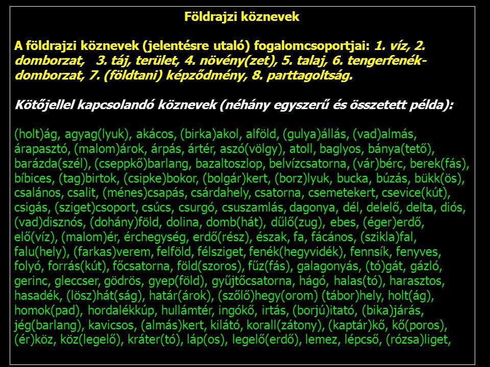 Földrajzi köznevek A földrajzi köznevek (jelentésre utaló) fogalomcsoportjai: 1. víz, 2. domborzat, 3. táj, terület, 4. növény(zet), 5. talaj, 6. teng
