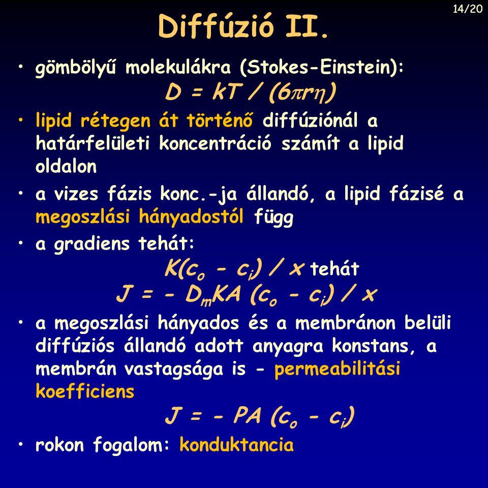 Diffúzió II. gömbölyű molekulákra (Stokes-Einstein): D = kT / (6  r  ) lipid rétegen át történő diffúziónál a határfelületi koncentráció számít a li
