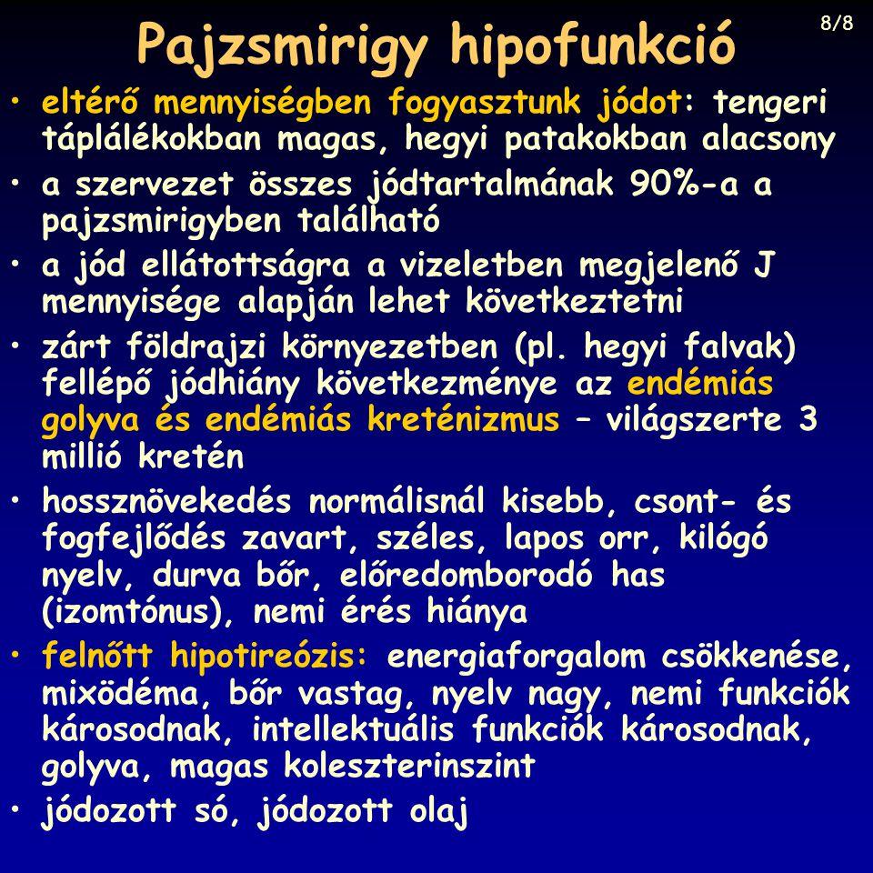 Pajzsmirigy hipofunkció eltérő mennyiségben fogyasztunk jódot: tengeri táplálékokban magas, hegyi patakokban alacsony a szervezet összes jódtartalmána