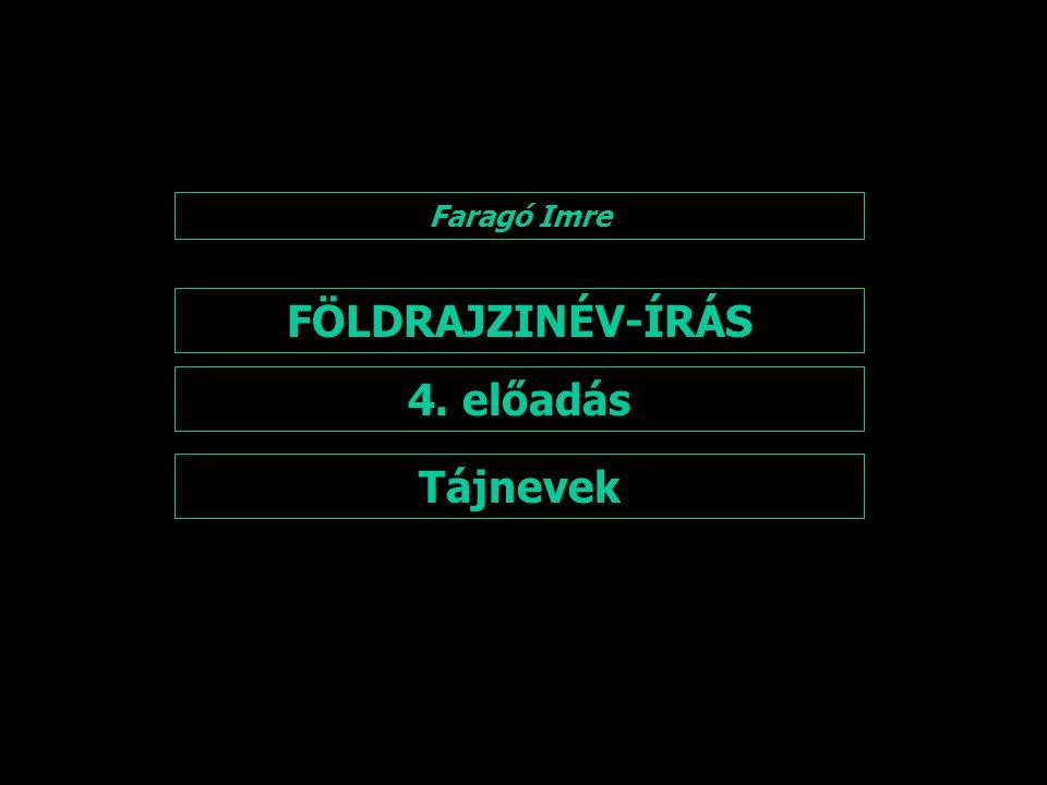 FÖLDRAJZINÉV-ÍRÁS 4. előadás Faragó Imre Tájnevek