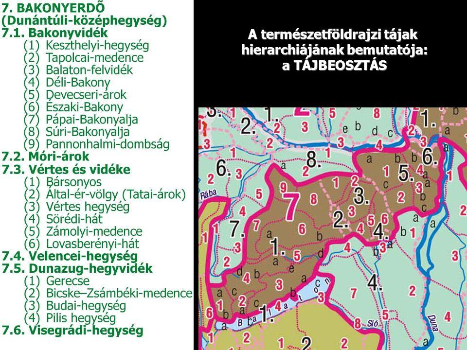 A természetföldrajzi tájak hierarchiájának bemutatója: a TÁJBEOSZTÁS