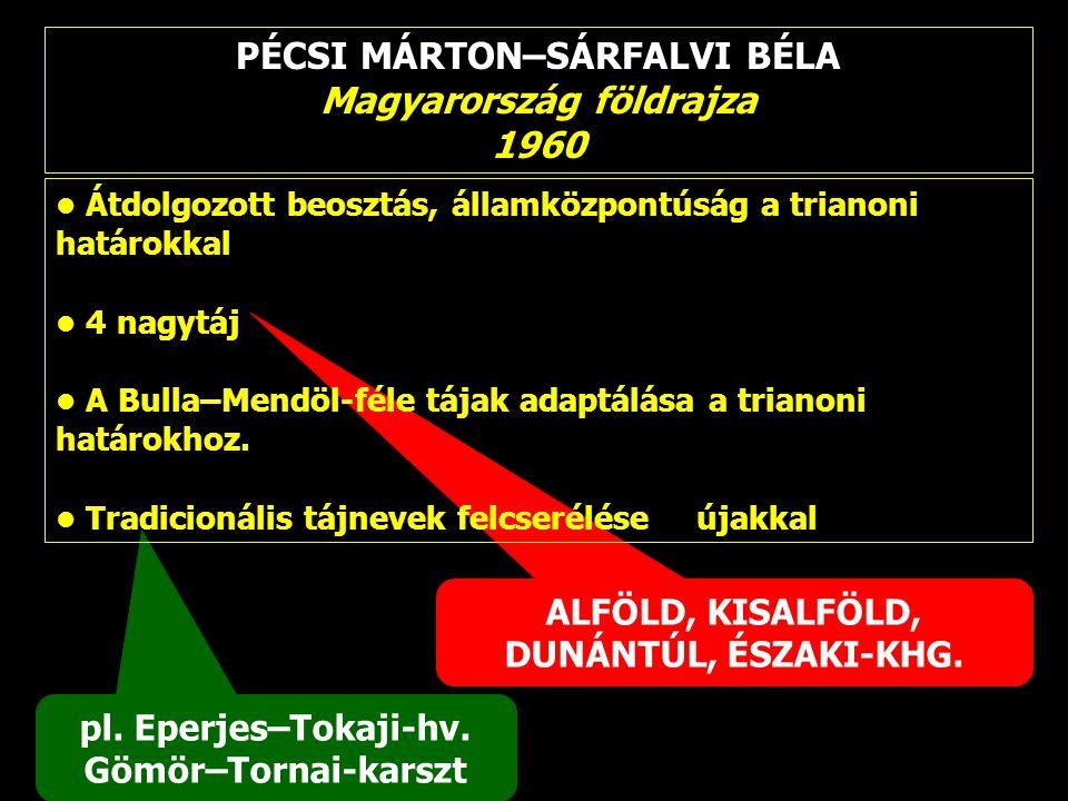 PÉCSI MÁRTON–SÁRFALVI BÉLA Magyarország földrajza 1960 pl. Eperjes–Tokaji-hv. Gömör–Tornai-karszt ALFÖLD, KISALFÖLD, DUNÁNTÚL, ÉSZAKI-KHG. Átdolgozott