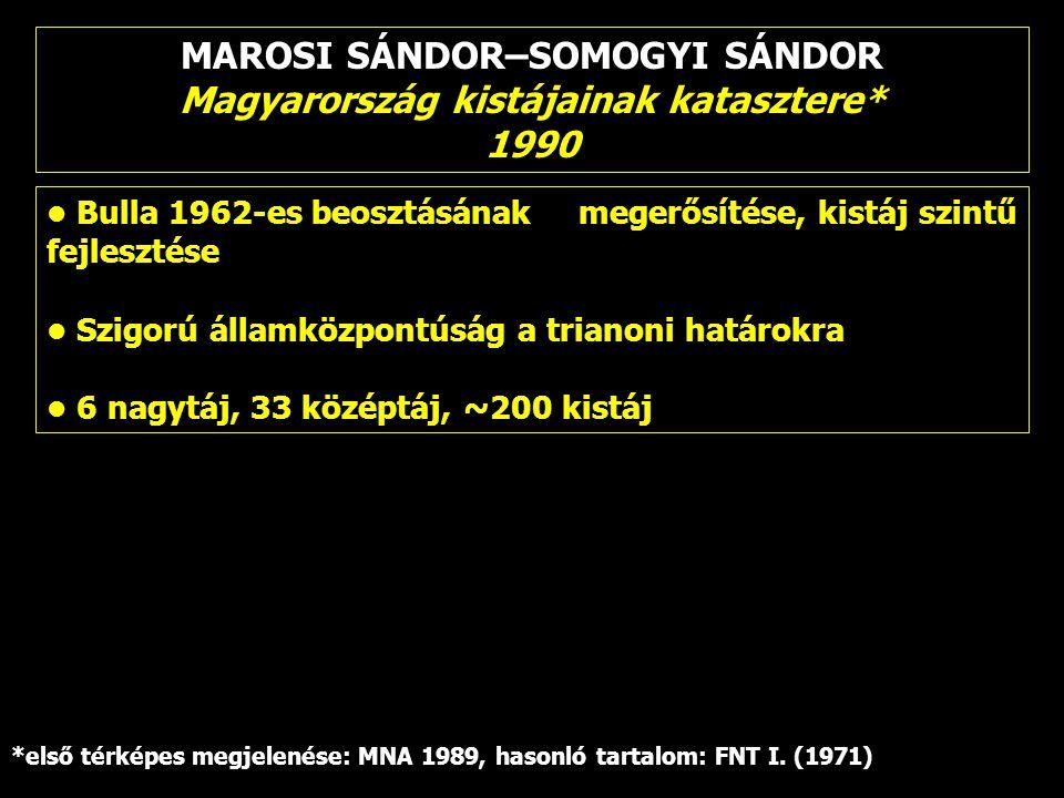 MAROSI SÁNDOR–SOMOGYI SÁNDOR Magyarország kistájainak katasztere* 1990 Bulla 1962-es beosztásának megerősítése, kistáj szintű fejlesztése Szigorú álla