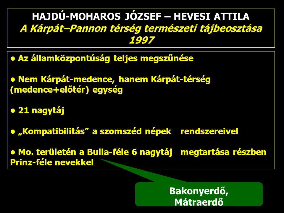 HAJDÚ-MOHAROS JÓZSEF – HEVESI ATTILA A Kárpát–Pannon térség természeti tájbeosztása 1997 Bakonyerdő, Mátraerdő Az államközpontúság teljes megszűnése N